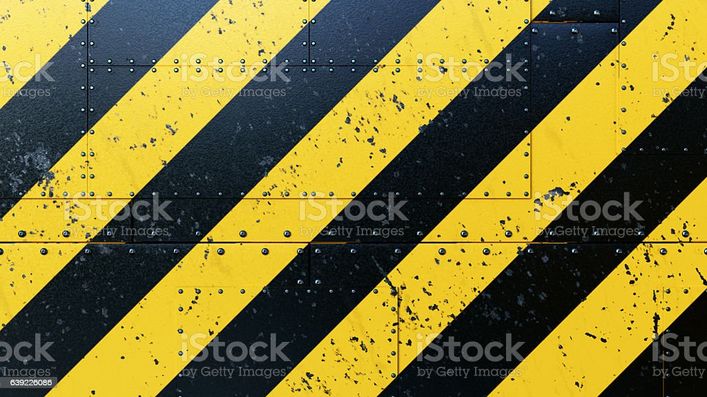 Danger Stripes Background Plates With Rivets stock photo