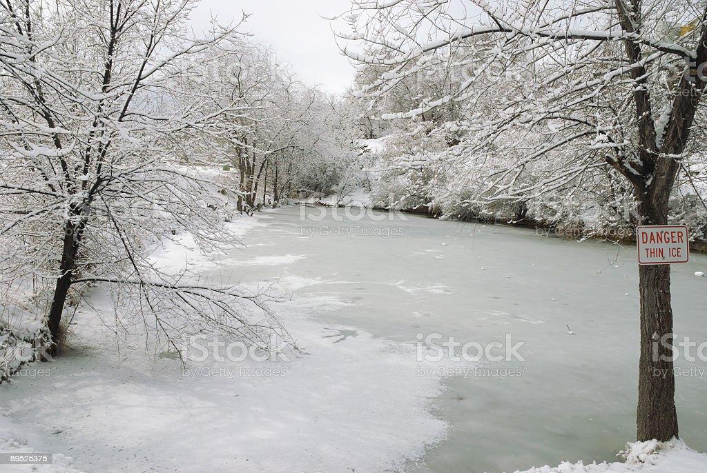 Danger Thin Ice royalty-free stock photo