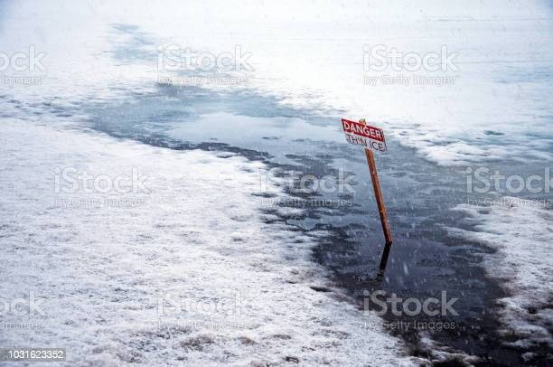 Photo of Danger Thin Ice Sign