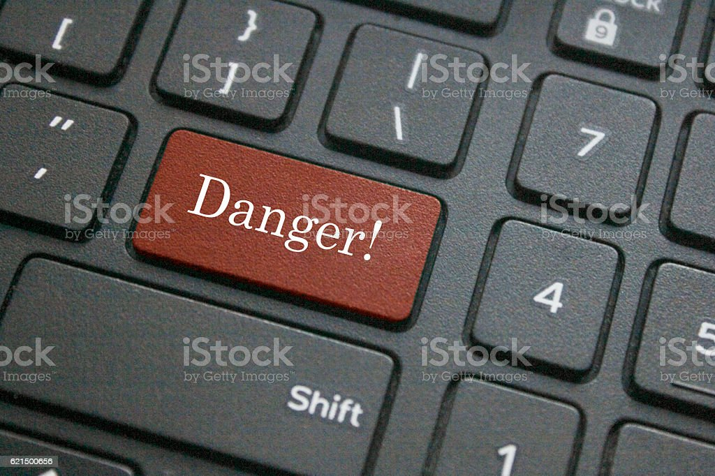Danger word on computer keyboard foto stock royalty-free