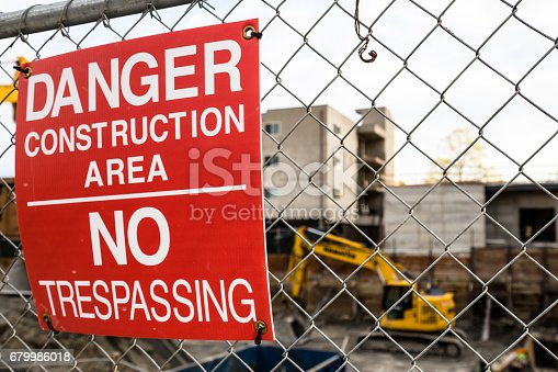 A warning sign at a construction site in Seattle, WA.