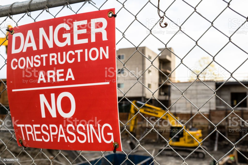 Danger/No Tresspassing Sign at a Construction Site stock photo