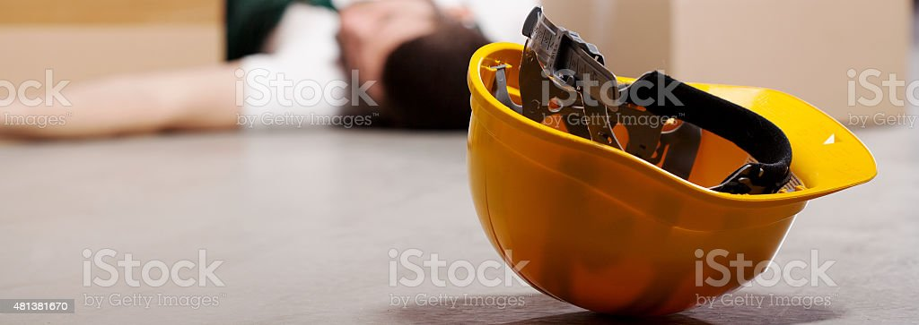 Dangerous accident during work stock photo