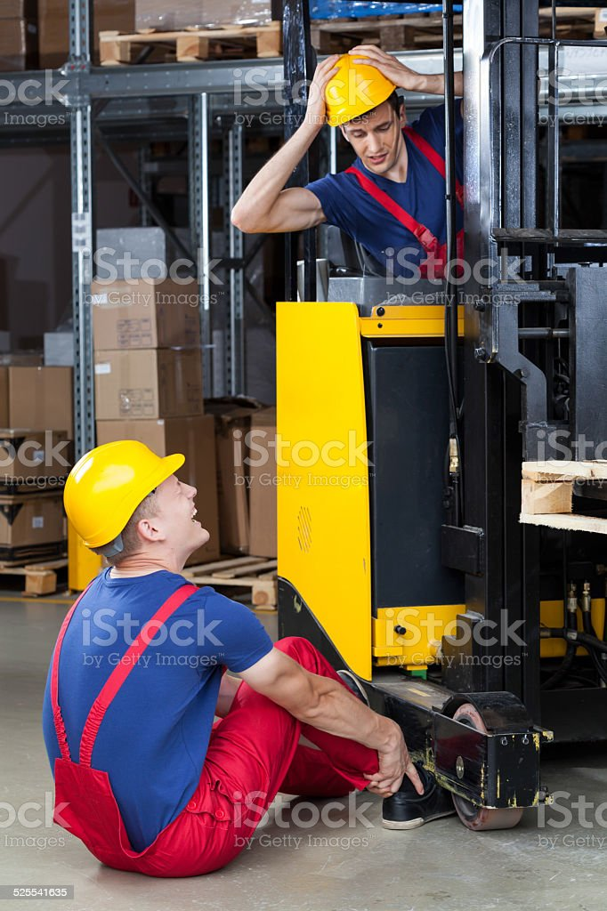 Dangerous accident in a factory stock photo