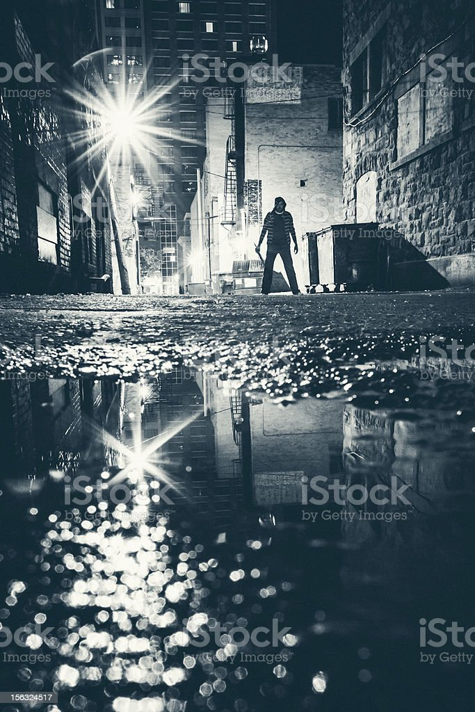 Dangerous alley. stock photo