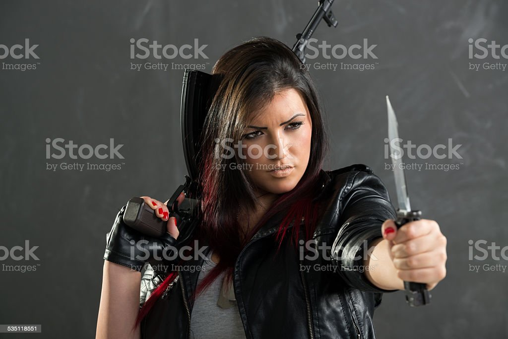 Dangerous And Armed Girl stock photo