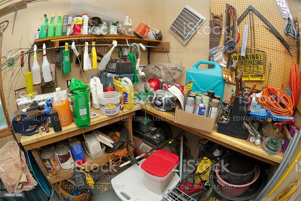 Dangerous And Disorganized Home Storage Area Stock Photo