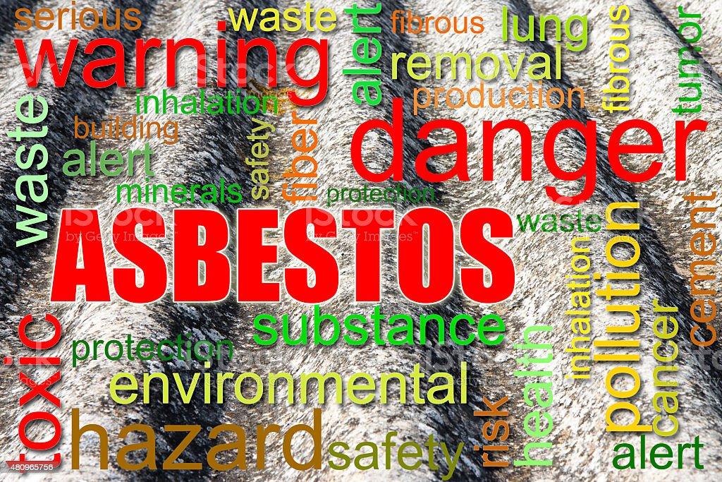 Dangerous asbestos roof concept image stock photo