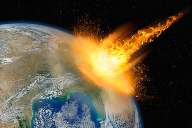 Dangerous asteroid hits planet Earth, total disaster and life extinction, elements of this image furnished by NASA stock photo