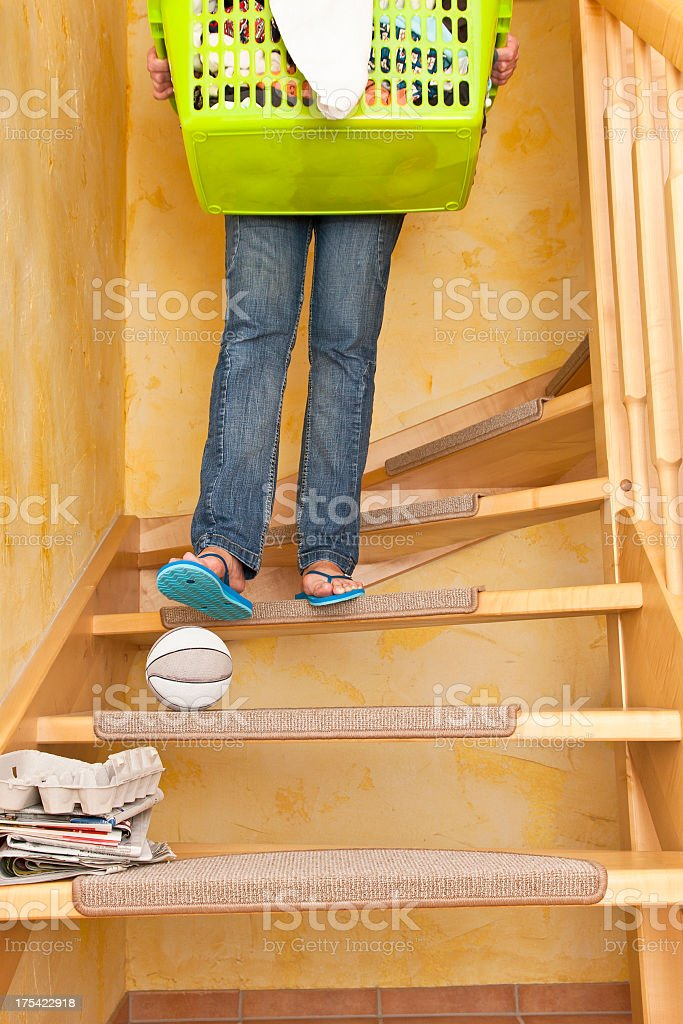 Dangerous Ball on Stairs royalty-free stock photo