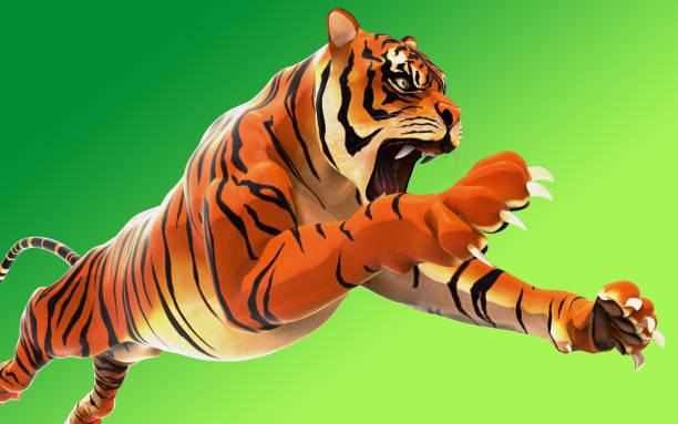 gefährliche bengal tiger brüllen und springen auf grünem hintergrund isoliert - katzen tatzen tattoos stock-fotos und bilder