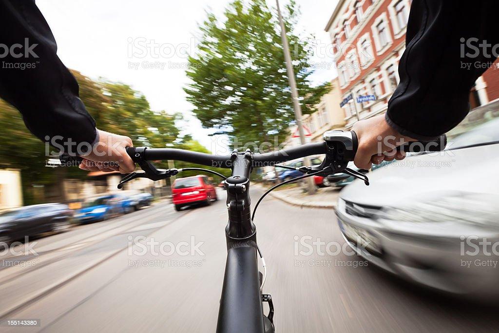 Dangerous Biking stock photo