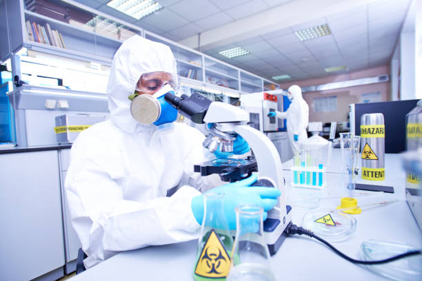Dangerous biological research stock photo