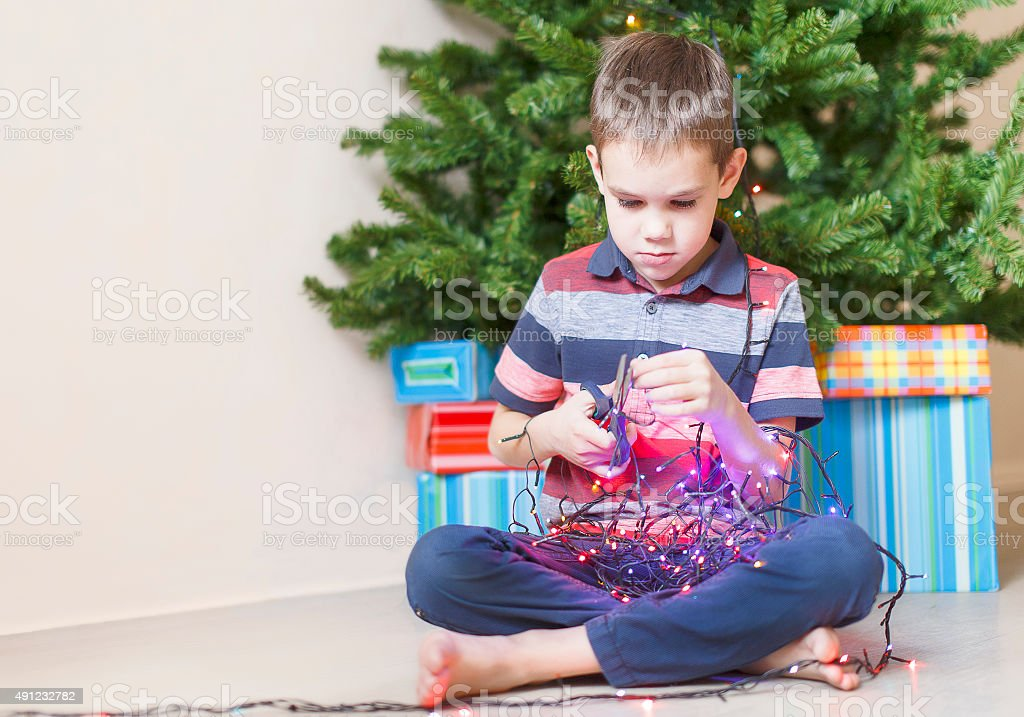 dangerous children's antics stock photo