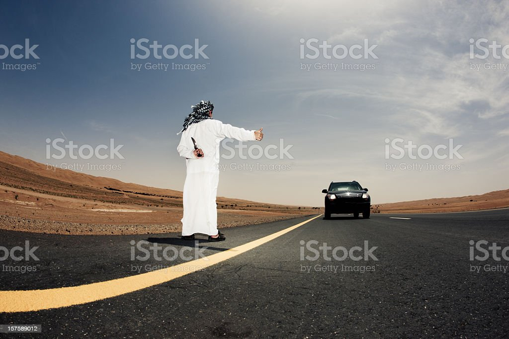 Dangerous Desert Hitchhiking royalty-free stock photo