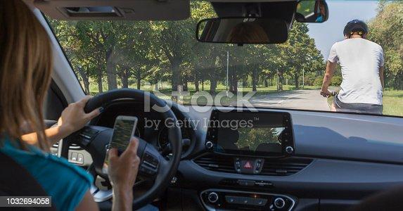 istock Dangerous driver. 1032694058