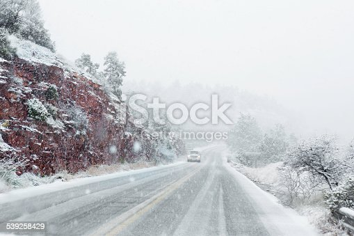 A Blizzard in March in Sedona Arizona created dangerous driving conditions. Drivers point of view