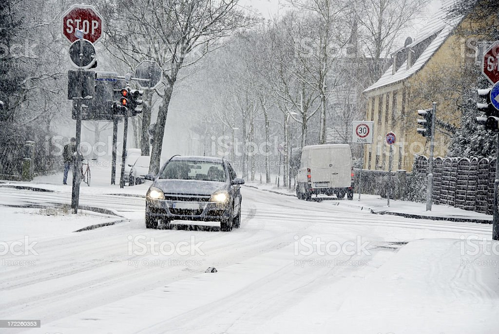 dangerous driving in snow royalty-free stock photo