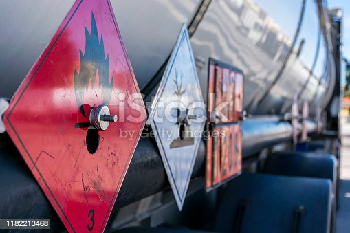 Labels and plates with danger number on a tank truck