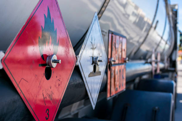 Dangerous goods Labels and plates with danger number on a tank truck hazardous chemicals stock pictures, royalty-free photos & images