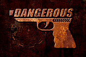 Dangerous gun concept on metal rust background
