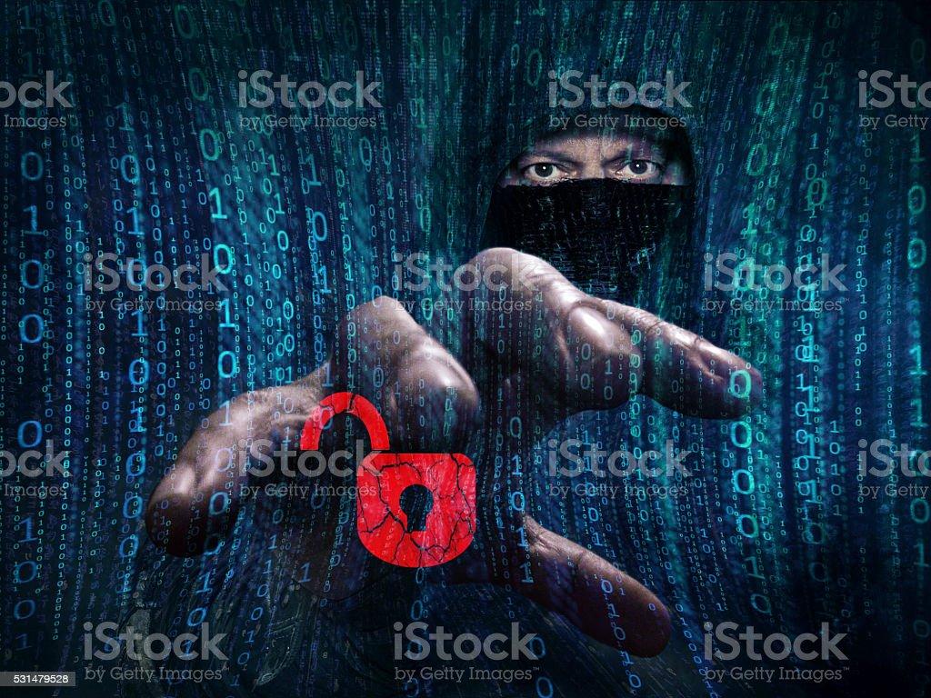 Gefährliche hacker stehlen Daten -concept Lizenzfreies stock-foto