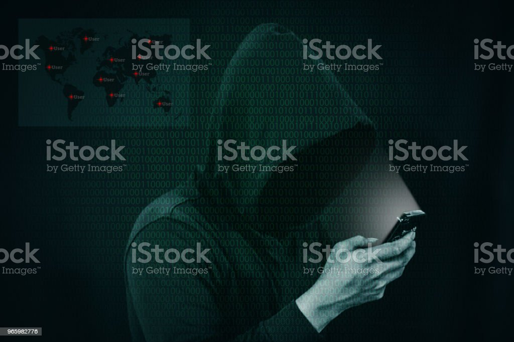 Dangerous hacker stealing data over a screen with binary code. - Royalty-free Accessibility Stock Photo