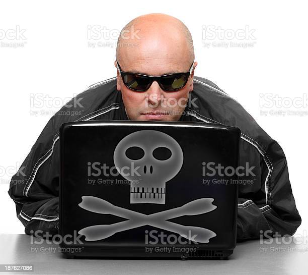 Dangerous Hacker With Laptop Stock Photo - Download Image Now