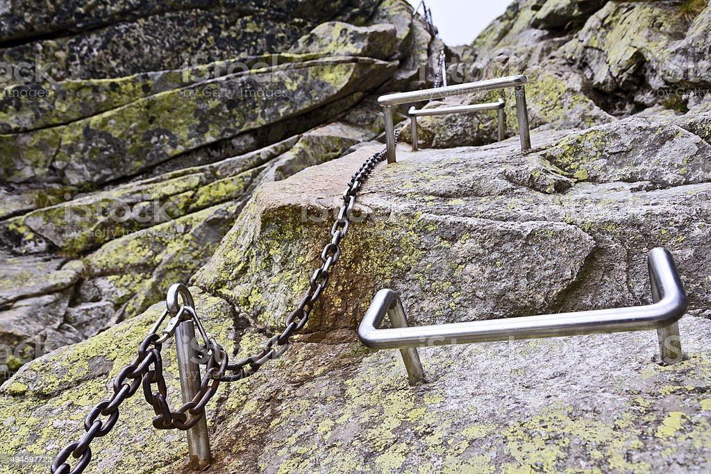 Dangerous hiking trail in the Tatra  Mountains stock photo