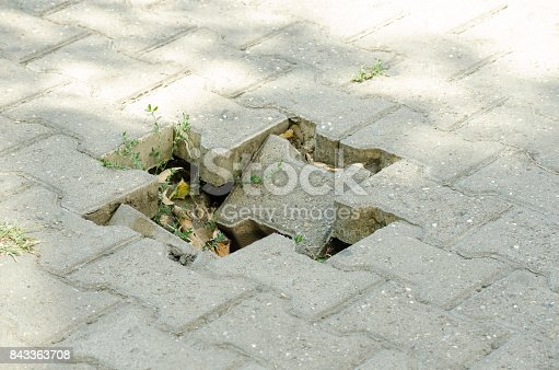 istock Dangerous hole for pedestrians on damaged sidewalk 843363708