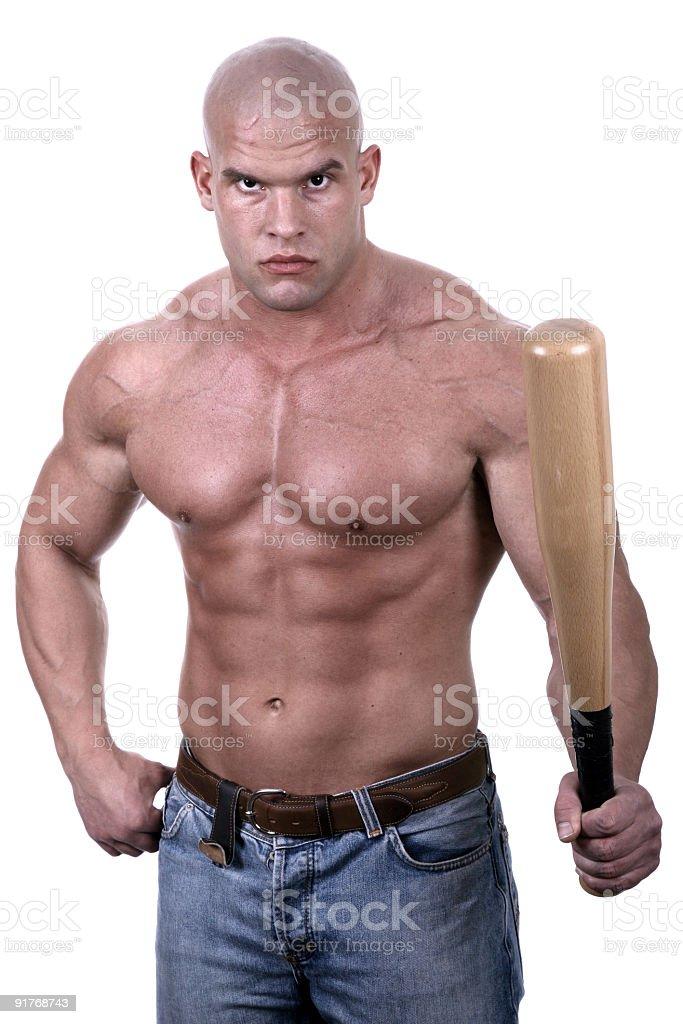 Dangerous man with baseball bat royalty-free stock photo
