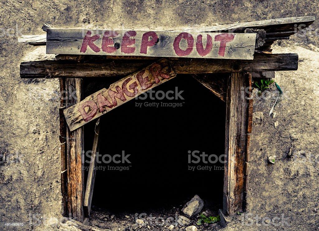 Dangerous Mine Entrance stock photo