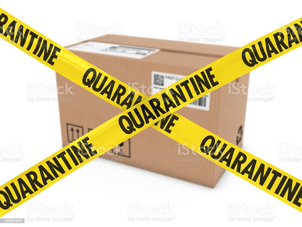 Dangerous Parcel Concept - Cardboard Box behind Quarantine Tape Cross stock photo