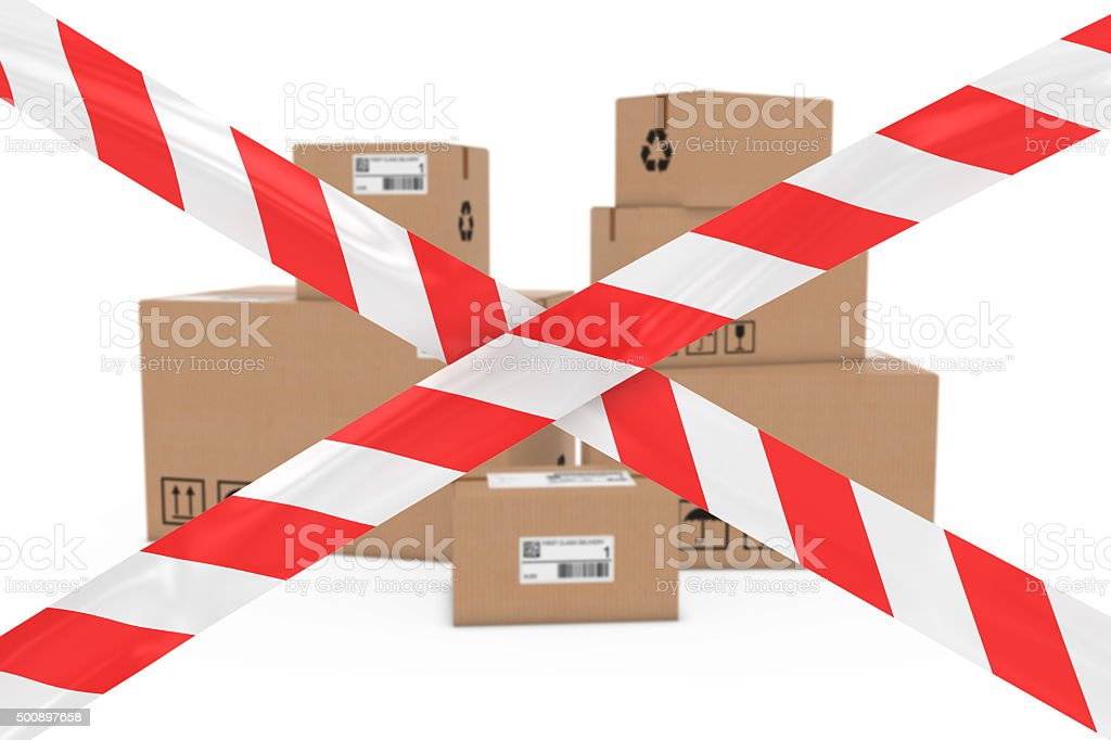 Dangerous Parcels Concept Stack Of Boxes Behind Barrier Tape
