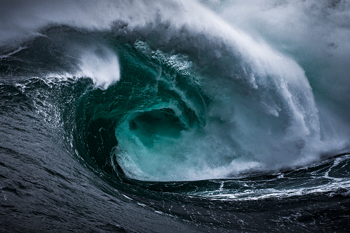 Dangerous powerful storm surge wave, dark and fearful provoking scene