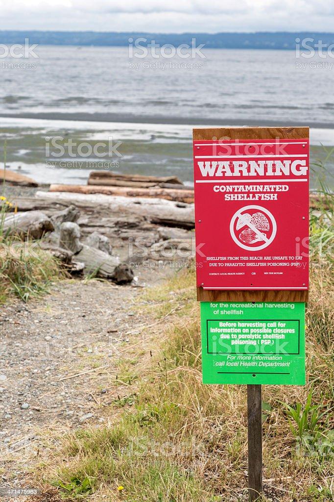 Dangerous shellfish warning sign stock photo