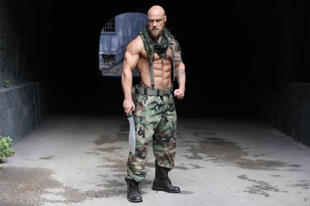 Dangerous soldier stock photo