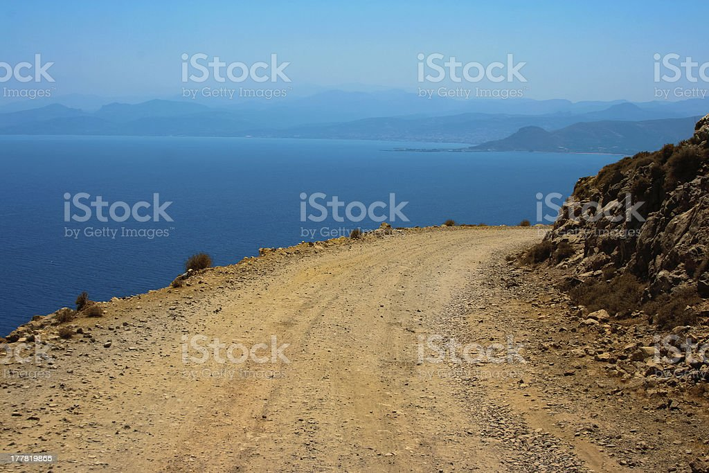 Dangerous turn on road to Gramvousa at Crete royalty-free stock photo