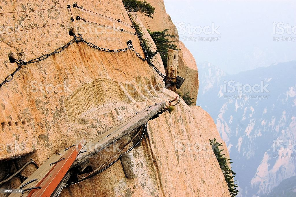Dangerous walkway at top of holy Mount Hua Shan, China stock photo