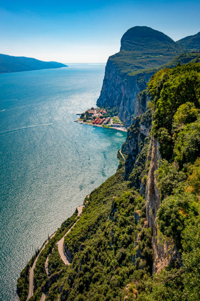 dangerous winding road at Lake Garda in Italy stock photo