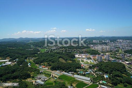 드론으로 촬영한 당진,충청남도,한국