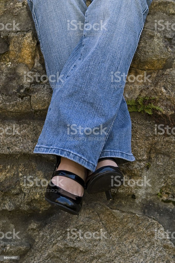 dangling legs royalty-free stock photo