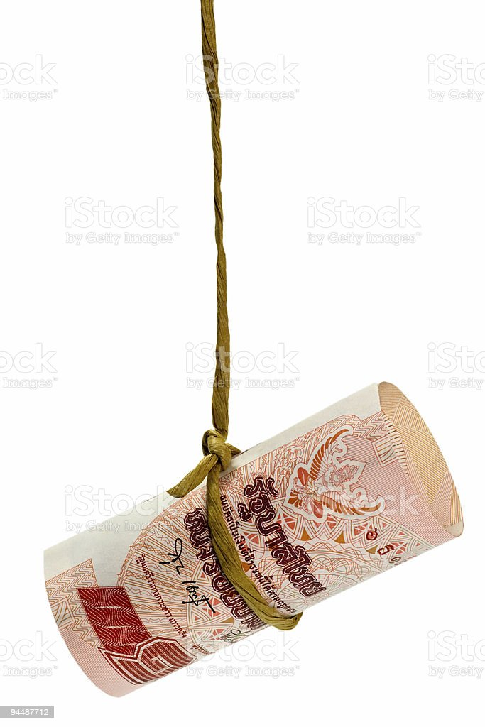 Dangling Thai baht stock photo