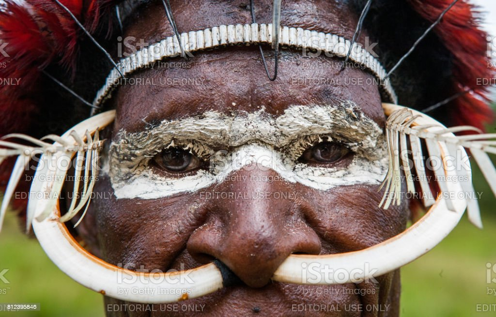 Dani tribe warrior's face in a ritual coloring on his face. stock photo