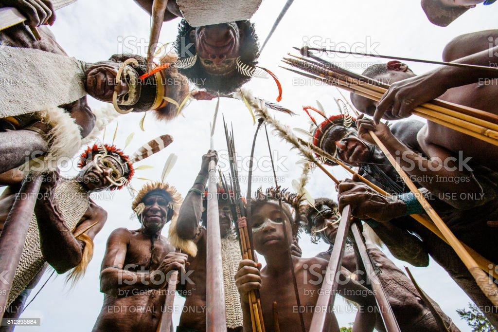 Dani tribe Warriors. stock photo