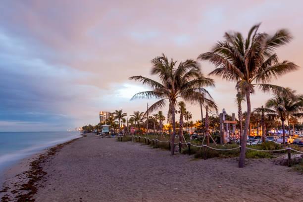 Dania Beach at dusk. Hollywood Beach, Florida – Foto