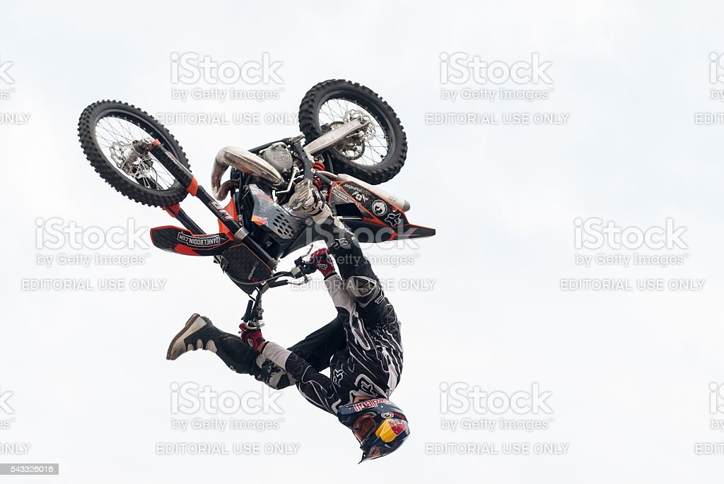 Daniel Bodin carries out a trick. Tyumen. Russia stock photo
