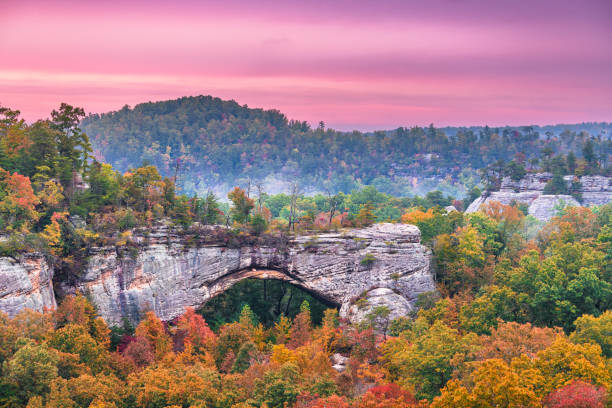 Daniel Boone National Forest Daniel Boone National Forest, Kenucky, USA at the Natural Arch at dusk in autumn. natural arch stock pictures, royalty-free photos & images