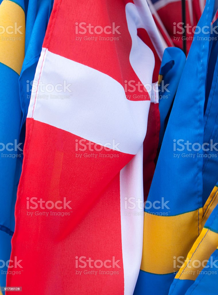 Danish and Swedish flags royalty-free stock photo