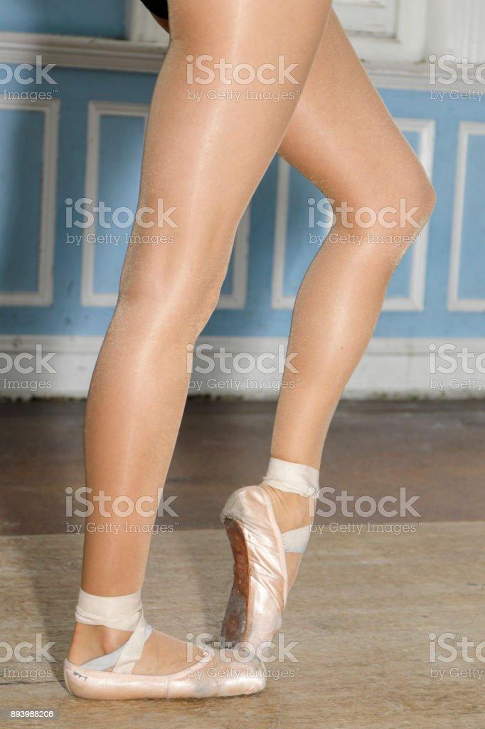 Danish ballerina ballet shoes and legs stock photo